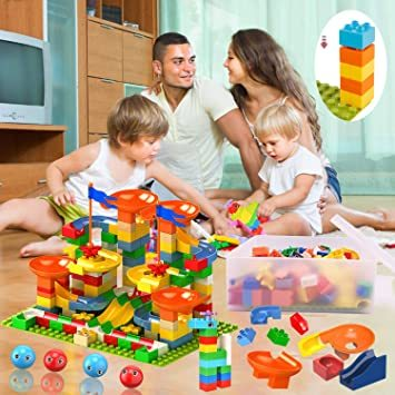Jiudam ビーズコースター 知育玩具 スロープ ルーピング セット 子供 組み立 DIY 積み木 男の子 女の子 誕生日の_画像7
