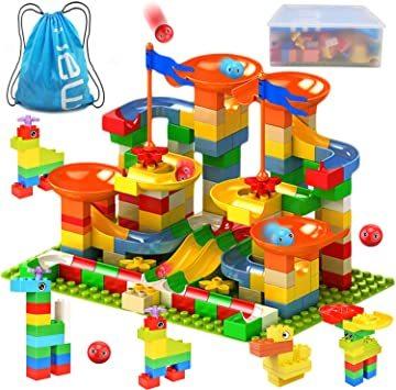 Jiudam ビーズコースター 知育玩具 スロープ ルーピング セット 子供 組み立 DIY 積み木 男の子 女の子 誕生日の_画像1
