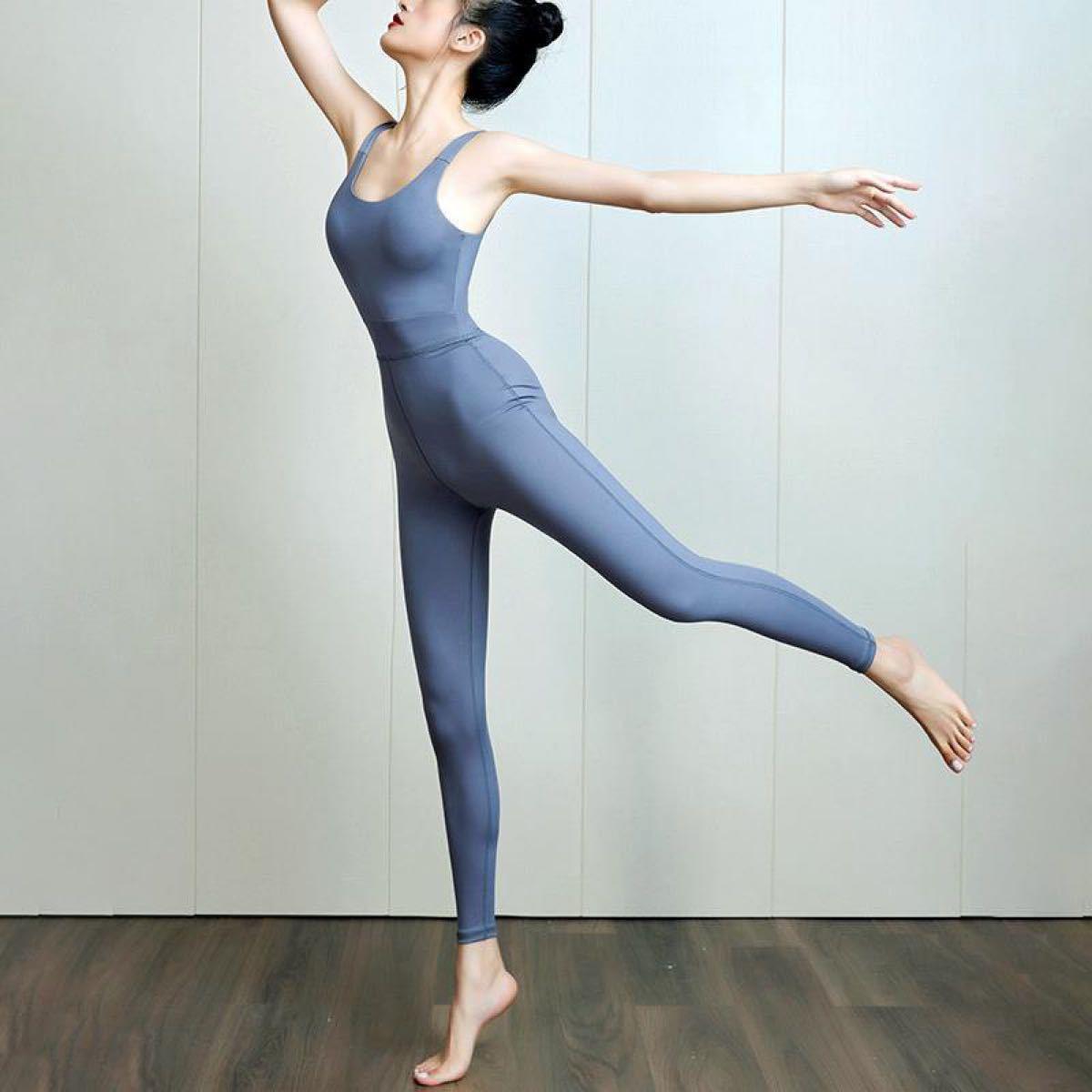 ヨガウェア ダンス衣装 オールインワン ホットヨガカップ付き ダンスヨガセット