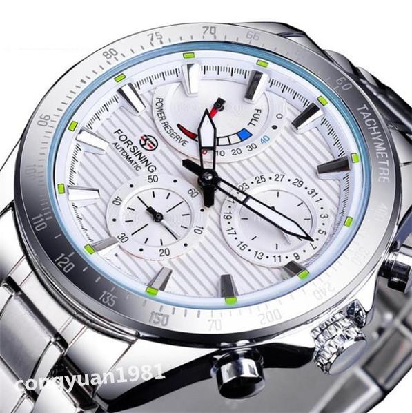 ★メンズ高級腕時計 42mm 機械式 自動巻 多機能 カレンダー エネルギー表示 ステンレス 紳士ウォッチ 夜光 防水 ホワイト_画像1