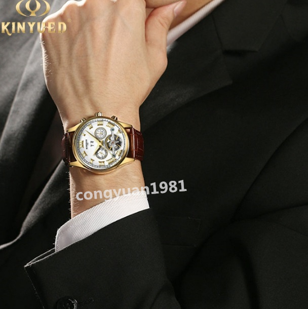 ★★ 高級男性腕時計 機械式自動巻 43mm カレンダー 曜日表示 トゥールビヨン 本革ベルト 文字盤 メンズウォッチ 紳士 通勤◇_画像8