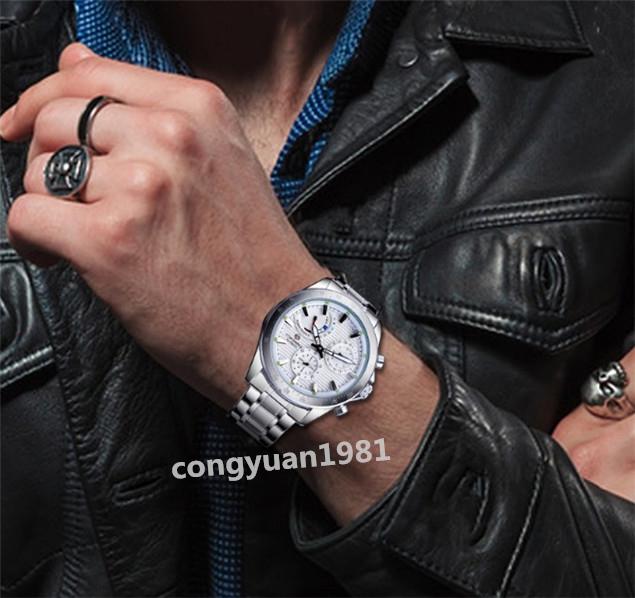★メンズ高級腕時計 42mm 機械式 自動巻 多機能 カレンダー エネルギー表示 ステンレス 紳士ウォッチ 夜光 防水 ホワイト_画像9