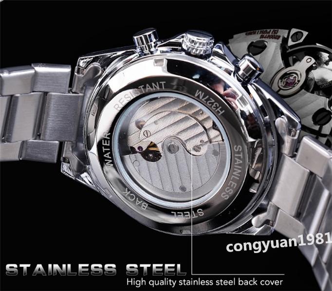 ★メンズ高級腕時計 42mm 機械式 自動巻 多機能 カレンダー エネルギー表示 ステンレス 紳士ウォッチ 夜光 防水 ホワイト_画像6
