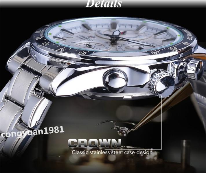 ★メンズ高級腕時計 42mm 機械式 自動巻 多機能 カレンダー エネルギー表示 ステンレス 紳士ウォッチ 夜光 防水 ホワイト_画像5