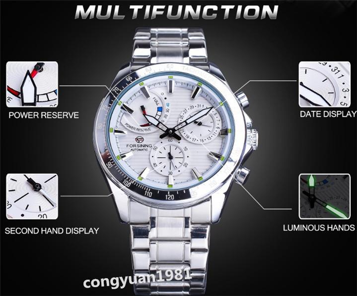 ★メンズ高級腕時計 42mm 機械式 自動巻 多機能 カレンダー エネルギー表示 ステンレス 紳士ウォッチ 夜光 防水 ホワイト_画像3