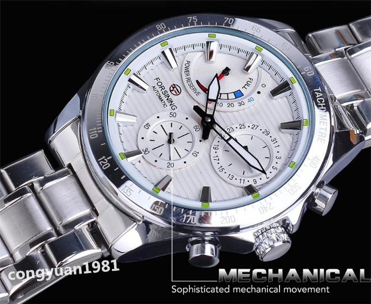★メンズ高級腕時計 42mm 機械式 自動巻 多機能 カレンダー エネルギー表示 ステンレス 紳士ウォッチ 夜光 防水 ホワイト_画像4