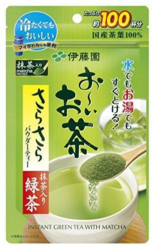 緑茶 80g (袋タイプ) 伊藤園 おーいお茶 抹茶入りさらさら緑茶 80g (チャック付き袋タイプ)_画像3