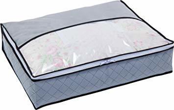 グレー 薄型コンパクト アストロ 羽毛布団 収納袋 シングル用 グレー 不織布 活性炭消臭 コンパクト 171-41_画像1