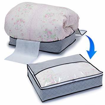 グレー 薄型コンパクト アストロ 羽毛布団 収納袋 シングル用 グレー 不織布 活性炭消臭 コンパクト 171-41_画像4