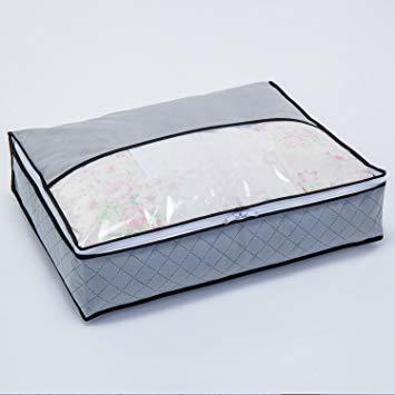 グレー 薄型コンパクト アストロ 羽毛布団 収納袋 シングル用 グレー 不織布 活性炭消臭 コンパクト 171-41_画像2