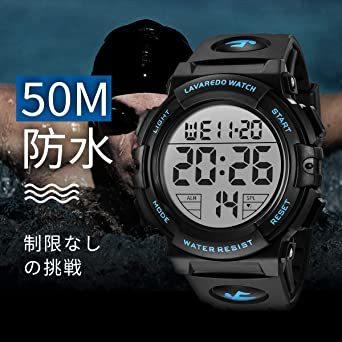 01.ブルー 腕時計 メンズ デジタル スポーツ 50メートル防水 おしゃれ 多機能 LED表示 アウトドア 腕時計_画像4