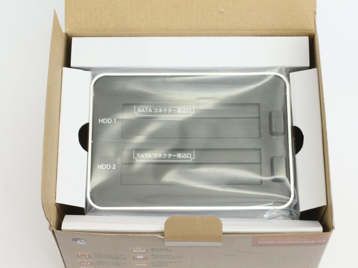 【検品開封/未使用】玄人志向 オリジナル SSD/HDDケース スタンド シルバー KURO-DACHI/CLONE/U3 2台搭載 2.5型&3.5型SATA USB3.0接続 ②_画像9
