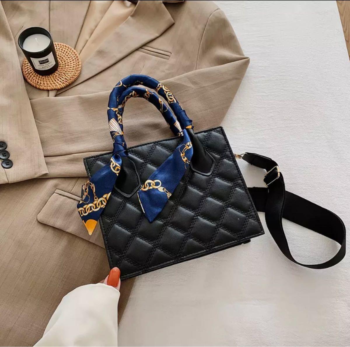 バッグ ショルダーバッグ トートバッグ ハンドバッグ 2way スカーフ おしゃれ 韓国 黒 ブラック ホワイト 白 茶 かわいい