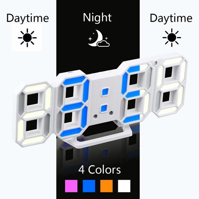 新品 ウォールクロック ブルー 選べる4色 デジタル LED インテリア Numbers 壁掛け時計 Wall ClOA53_画像1