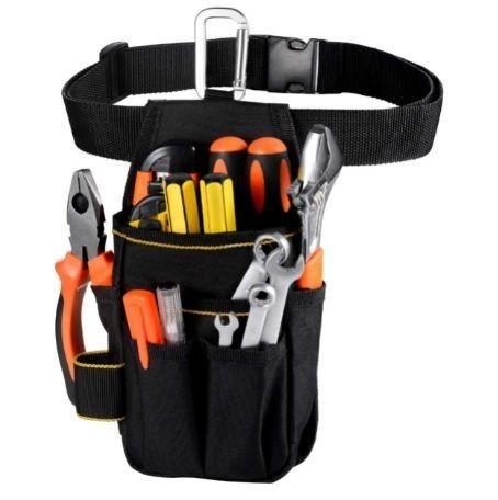 送料無料 工具入れ 腰袋 工具袋 小物入れ 作業袋 ウエストバッグ カラビナフック ベルト付 多機能ポケット コンパクト設計_画像1