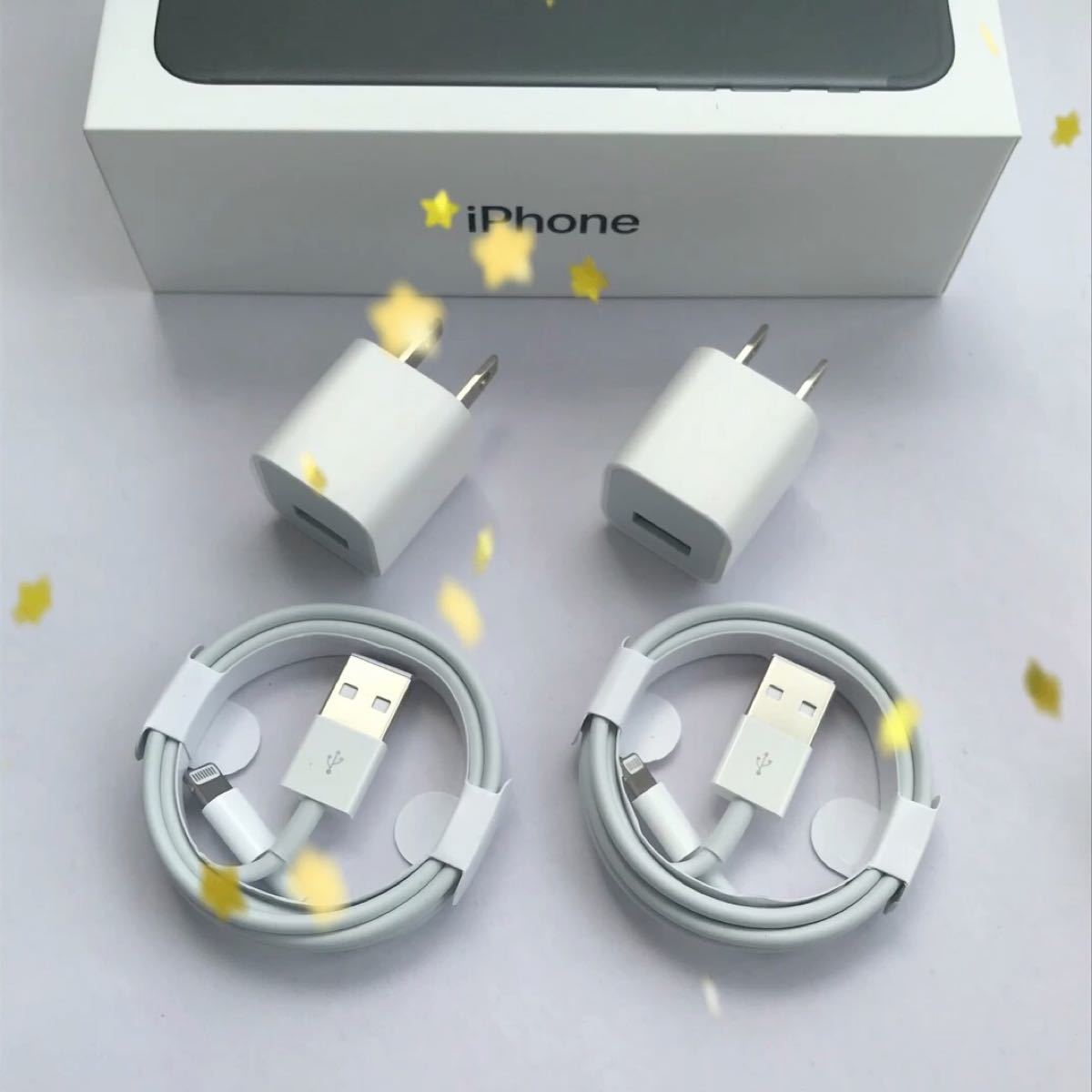 iPhone 充電器 充電ケーブル コード lightning cable 4点セット ライトニングケーブル アダプタ スマホ