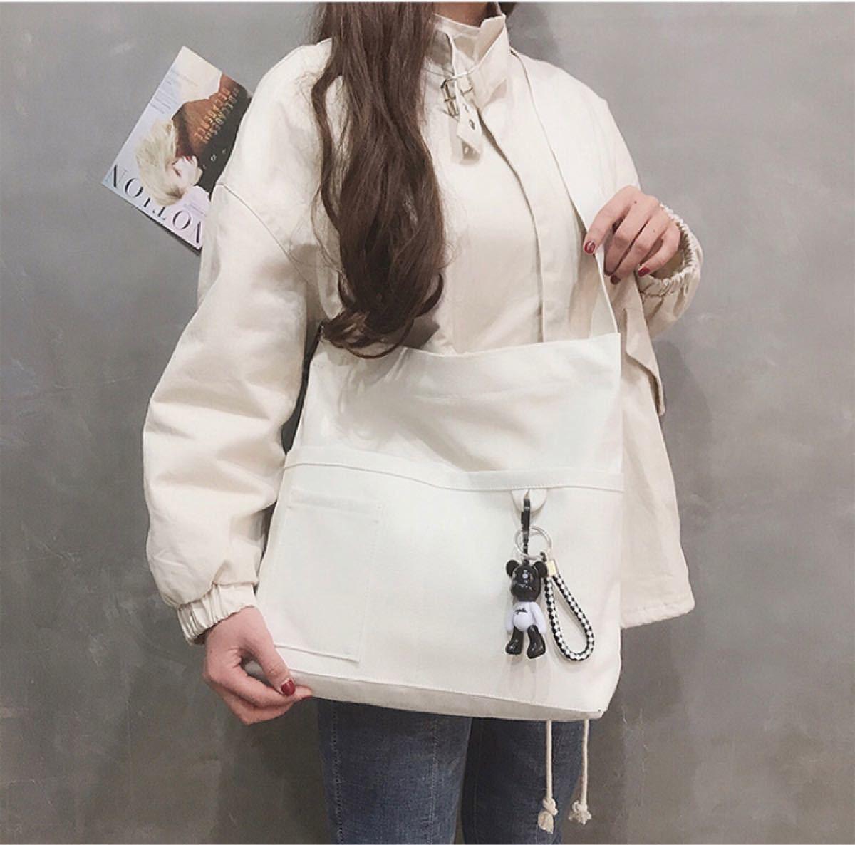 ショルダーバッグ トートバッグ 白  ホワイト  レディースバッグ 韓国 斜めがけバッグ ボディーバッグ キャンバス