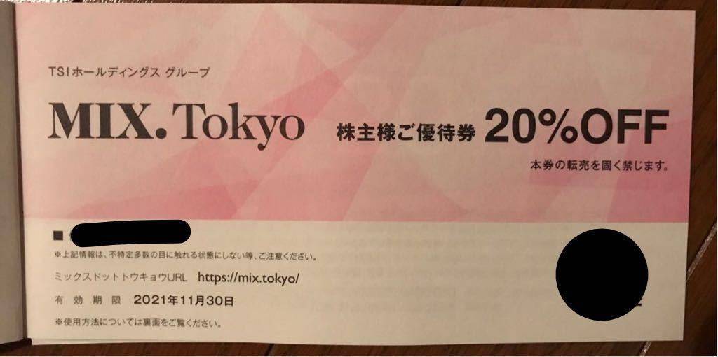 株主優待 MIX.Tokyo 20%OFF券 有効期限2021.11.30_画像1