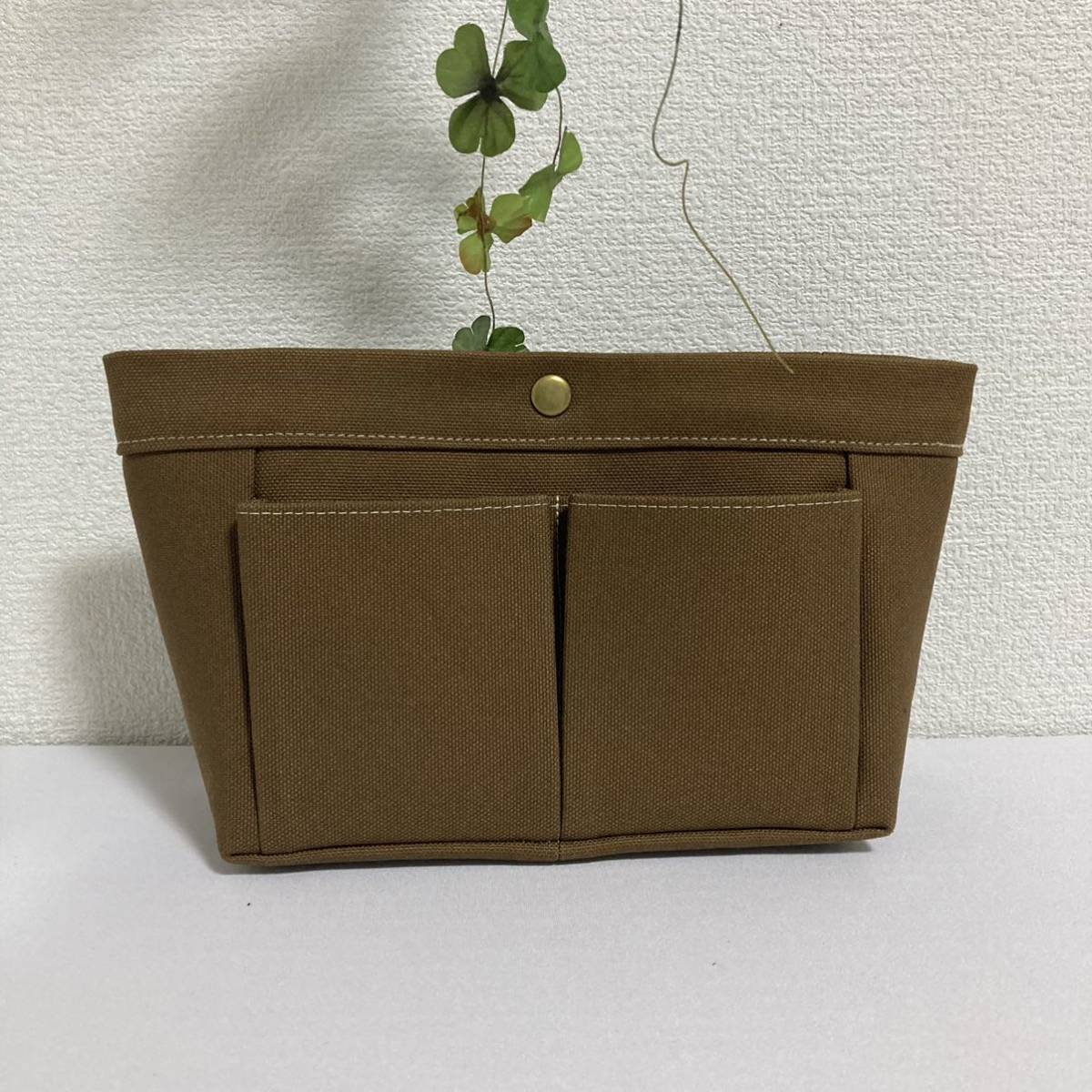◆バッグインバッグ◆シンプル!ブラウンの帆布◆ハンドメイド