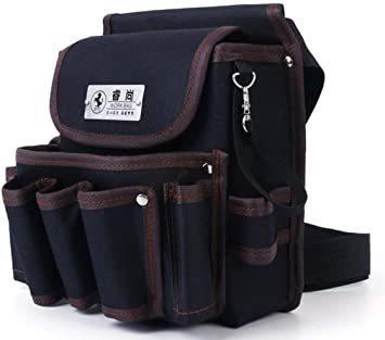 ブラック2 weijiekk ツールバッグ ウエストバッグ 腰袋 作業 収納 工具入れ 電工袋 電工道具袋 工具袋 工具差し_画像1