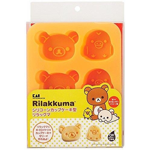 リラックマ 2.5×14×17.8cm 貝印 kai シリコン カップケーキ型 リラックマ & キイロイトリ DN0203_画像6