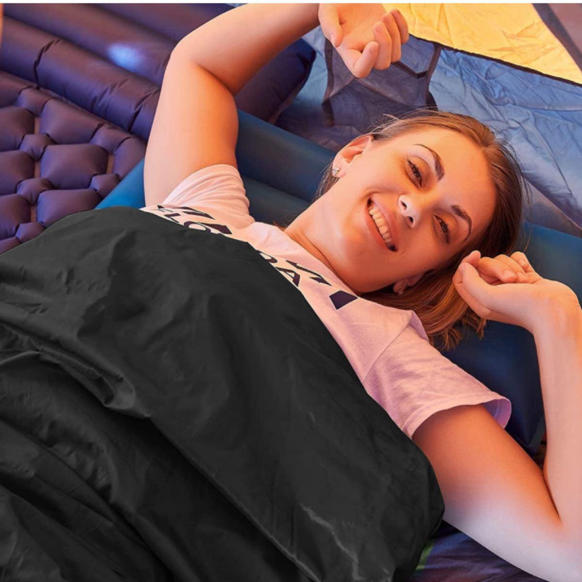 寝袋 シュラフ シュラフカバー スリーピングバッグ 封筒型 210T防水 保温 軽量 コンパクト キャンプ アウトドア 登山