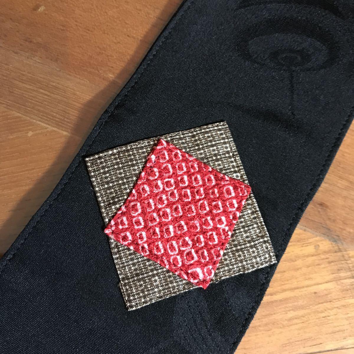 古布のミニタペストリー② 古布 着物リメイク タペストリー 絹 パッチワーク 黒 アンティーク 86×9cm ハンドメイド