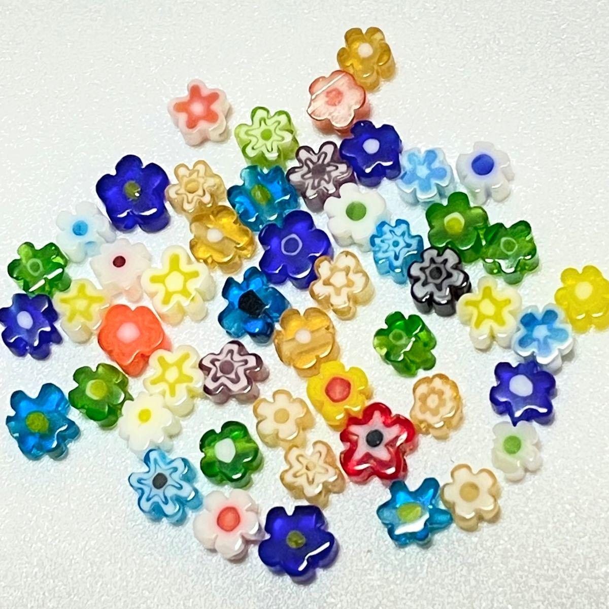 ベネチアンビーズ フラワー 100粒 ハンドメイド ミルフィオリ お花型 フラワービーズ 4mm ミニ カラフル かわいい 韓国