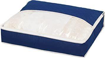 ネイビー アストロ 羽毛布団 収納袋 シングル用 ネイビー 不織布 活性炭消臭 コンパクト 617-33_画像1