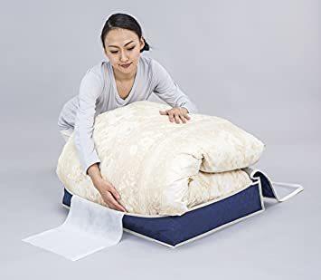 ネイビー アストロ 羽毛布団 収納袋 シングル用 ネイビー 不織布 活性炭消臭 コンパクト 617-33_画像3