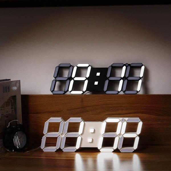 【点灯動作確認済】お洒落 インテリア 大型 3D 立体 LED デジタル 壁掛け 時計 リモコン付き 白 ホワイト ウォールクロック 置時計_画像8