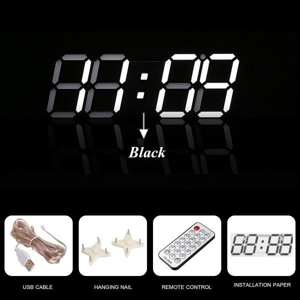 【点灯動作確認済】お洒落 インテリア 大型 3D 立体 LED デジタル 壁掛け 時計 リモコン付き 白 ホワイト ウォールクロック 置時計_画像4