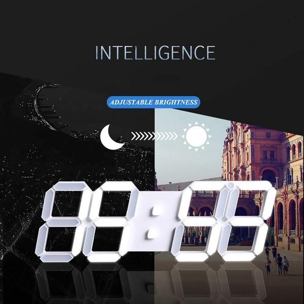 【点灯動作確認済】お洒落 インテリア 大型 3D 立体 LED デジタル 壁掛け 時計 リモコン付き 白 ホワイト ウォールクロック 置時計_画像5