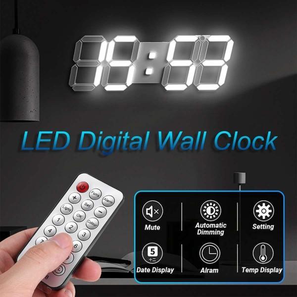 【点灯動作確認済】お洒落 インテリア 大型 3D 立体 LED デジタル 壁掛け 時計 リモコン付き 白 ホワイト ウォールクロック 置時計_画像3