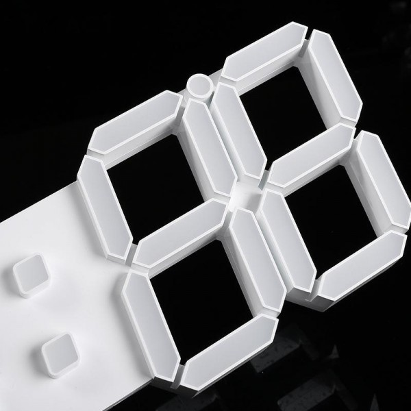 【点灯動作確認済】お洒落 インテリア 大型 3D 立体 LED デジタル 壁掛け 時計 リモコン付き 白 ホワイト ウォールクロック 置時計_画像7