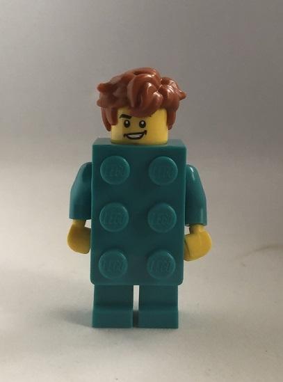 即決 未使用 レゴ LEGO ミニフィグ シティ ミニフィギュア  ブロックスーツの男の子 新色 ターコイズブルー くしゃくしゃヘアー_画像1