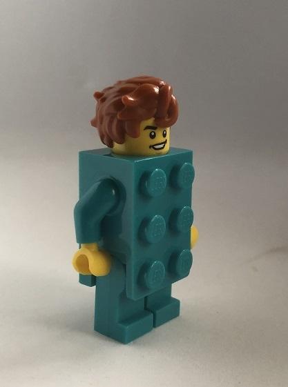 即決 未使用 レゴ LEGO ミニフィグ シティ ミニフィギュア  ブロックスーツの男の子 新色 ターコイズブルー くしゃくしゃヘアー_画像2