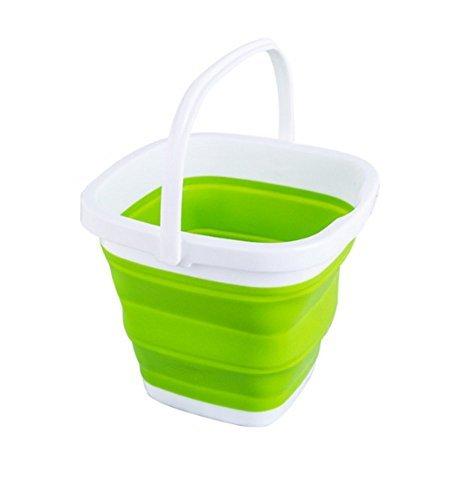 グリーン 5L EtetnalWings 正方形 折りたたみ バケツ 洗車 掃除 洗濯 アウトドア 園芸 釣り コンパクト 収納_画像1