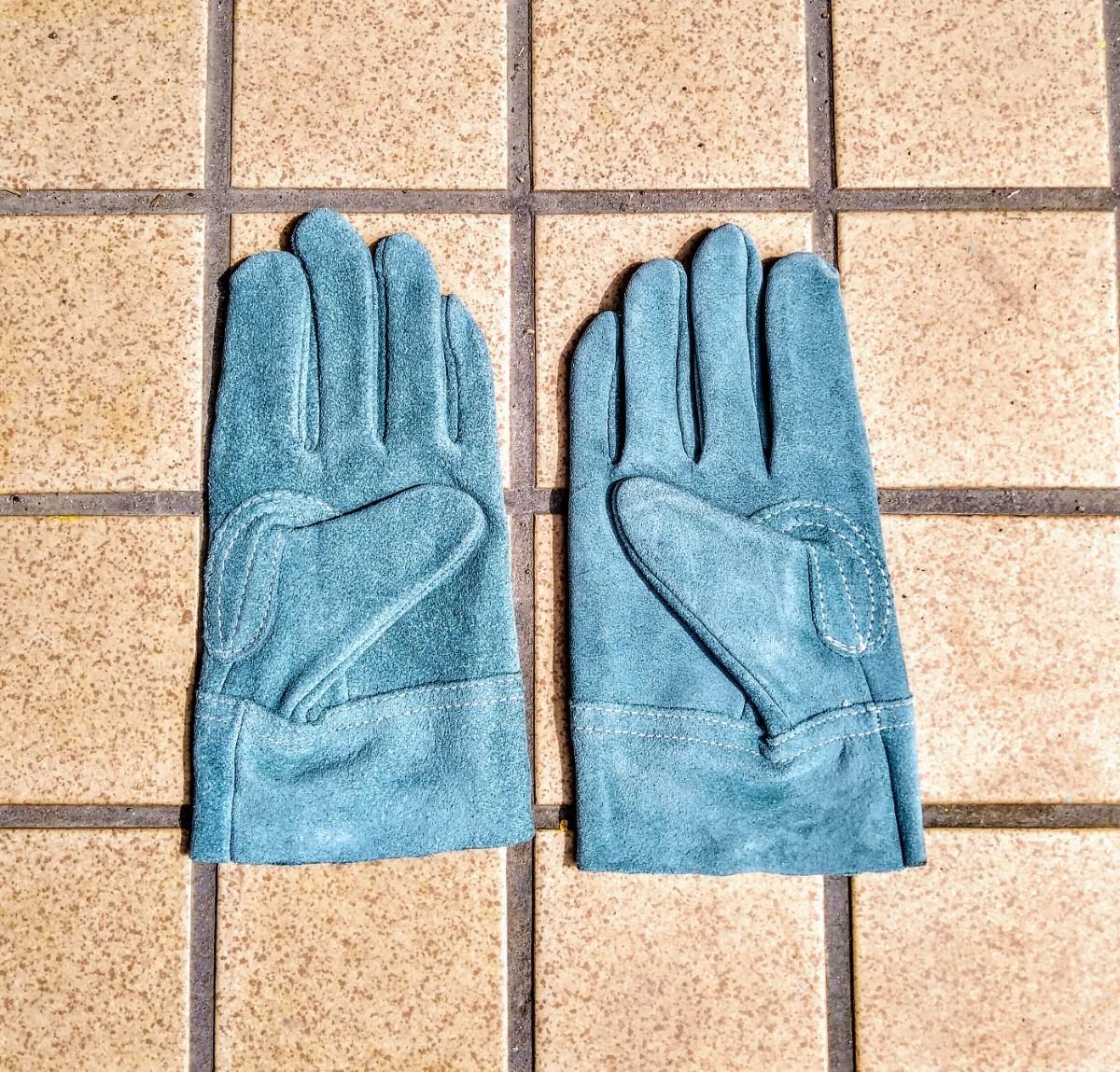 【新品未使用】ブルー 耐熱グローブ 耐熱 手袋 レザー キャンプ バーベキュー アウトドア 焚火