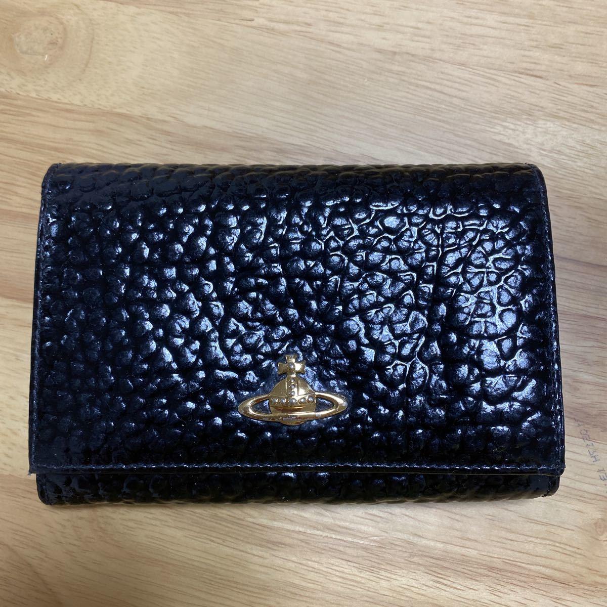 Vivienne Westwood ヴィヴィアンウエストウッド 二つ折り財布 エナメルレザー ブラック