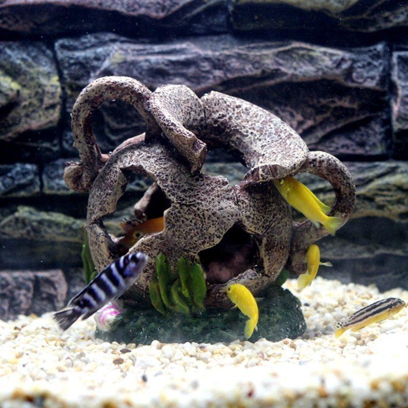 隠れ家のお魚たち☆水槽 装飾 オブジェ 洞窟 壺 つぼ 花瓶 シェルター 自然 アクアリウム 演出 海 川 底 置物 インテリア 熱帯魚 DD369*_画像2