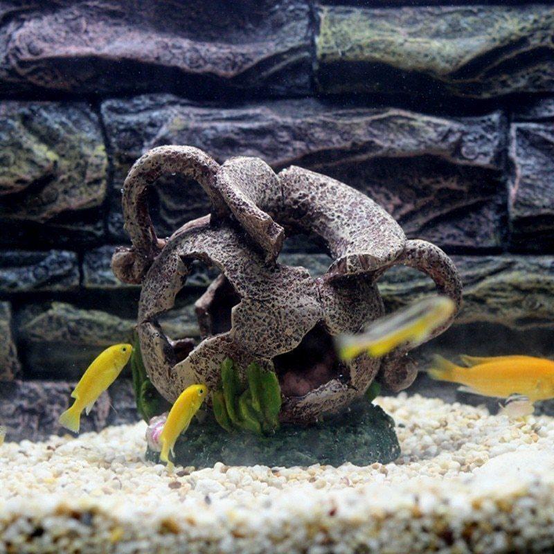 隠れ家のお魚たち☆水槽 装飾 オブジェ 洞窟 壺 つぼ 花瓶 シェルター 自然 アクアリウム 演出 海 川 底 置物 インテリア 熱帯魚 DD369*_画像4