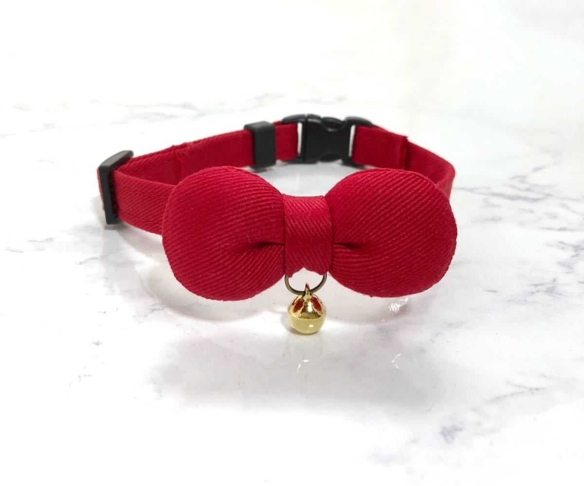 猫首輪 可愛い赤まるリボン シンプルな赤首輪 コットンツイル生地