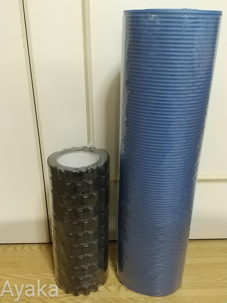 ブルー ヨガマット  フォームローラー 2点セット トレーニング エクササイズ 新品 腹筋 筋トレ 健康 おすすめ
