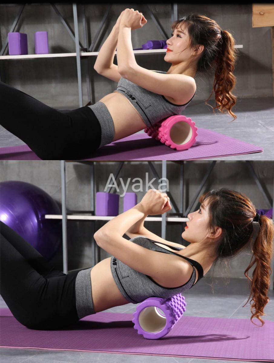 パープル ヨガマット  フォームローラー 2点セット トレーニング エクササイズ 新品 腹筋 筋トレ 健康 おすすめ