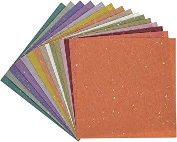金銀振り 15×15cm 15枚 【Amazon.co.jp 限定】和紙かわ澄 日本の色 もみ和紙 金銀振り 15cm 15色 _画像3