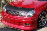 即納トヨタJZS16アリスト レクサスGS300ブラック黒フェイクレザー ノーズブラ ボンネットカバー フード フロント/エアロ スポイラー グリル
