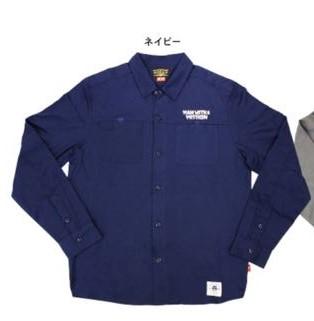 MAN WITH A MISSION ワークシャツSサイズ ネイビー 長袖 送料込