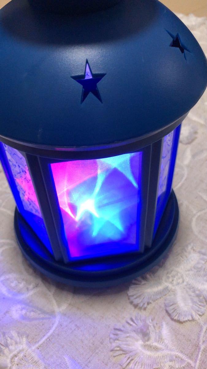リラックマ チャイロコグマの星降る夜 星柄LEDランタン ネービー 単3電池x3本プレゼント