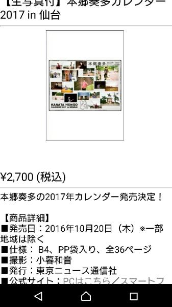本郷奏多 カレンダー 2017 定価2700円 グッズの画像